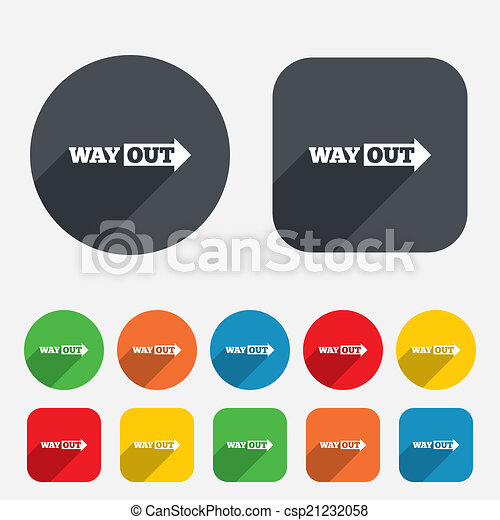 Way Out Right Sign Icon Arrow Symbol Circles And Rounded Squares