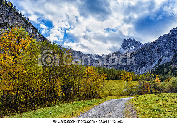 Way through autumn mountain landscape - csp41113695