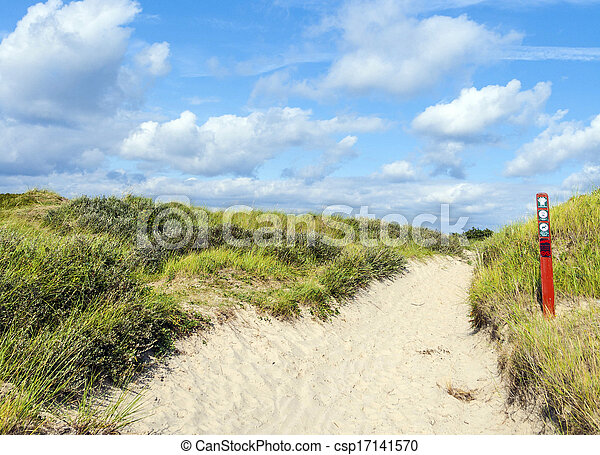 way through the dunes on the island of Fanoe in Denmark - csp17141570