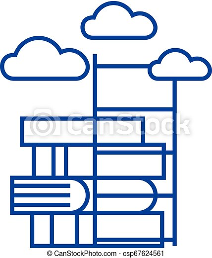 Way to knowledge, books with staircase line icon concept. Way to knowledge, books with staircase flat vector symbol, sign, outline illustration. - csp67624561