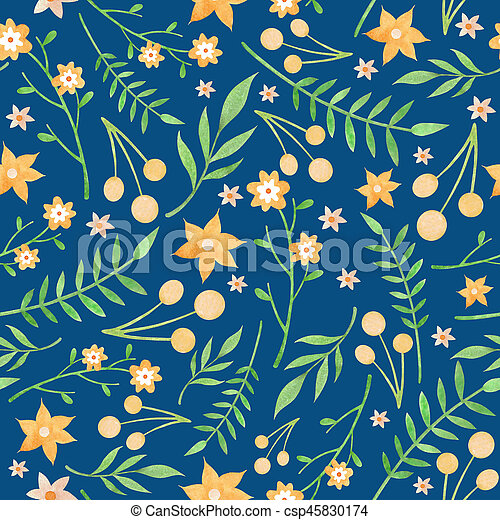 wc floral pattern with yellow flowers berries on dark background watercolor floral pattern with yellow flowers berries and https www canstockphoto com wc floral pattern with yellow flowers 45830174 html
