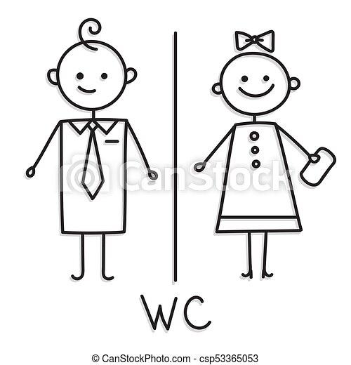 Wc Sign Toilet Door Plate Icon Bathroom Men And Women For Restroom Vector Sketch