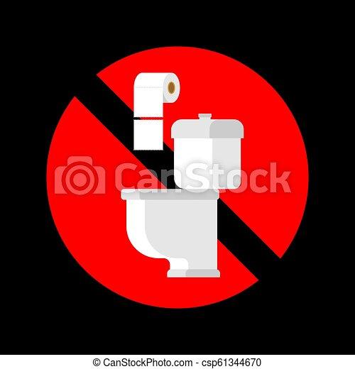 No tires toallas de papel en el baño. Señal de alto. Ban for WC - csp61344670