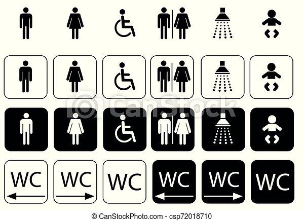 wc symbols for toilet sign, toilet icon set - - csp72018710