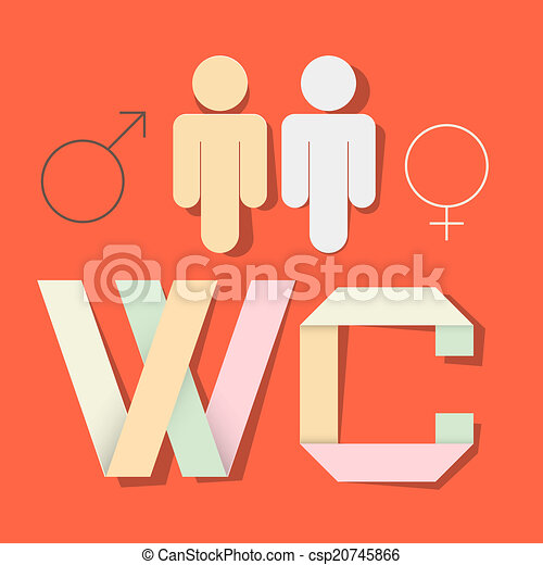 WC Title with Paper Cut People and Man Woman Symbols - csp20745866