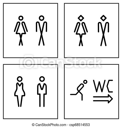 Wc Toilet Door Plate Icon Set Men And Women Wc Sign For