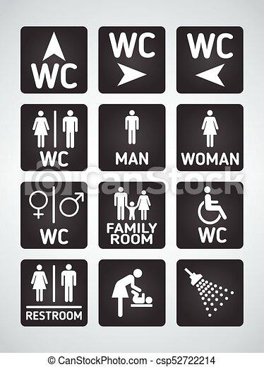 wc toilet door plate icons set men and women wc sign for restroom