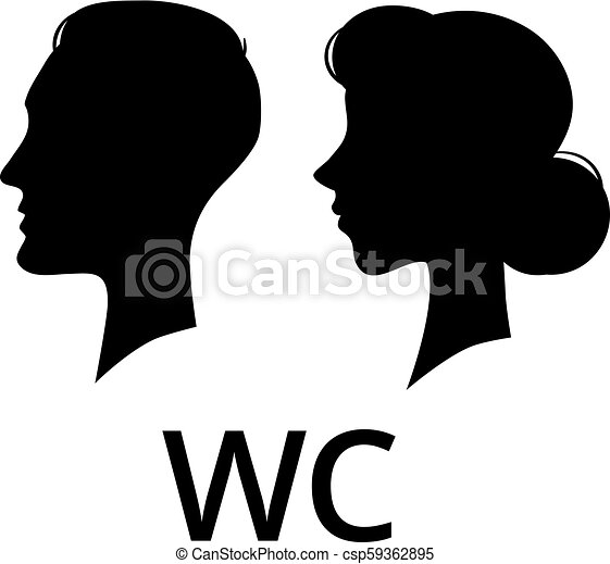 wc toilet sign male and female face profile washroom ladies and