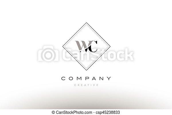 Wc W C Retro Vintage Black White Alphabet Letter Logo Wc W C
