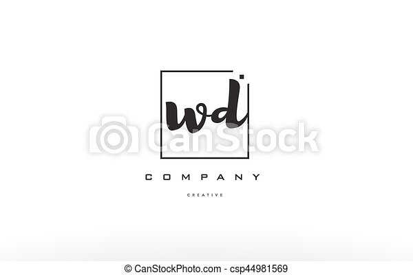 Wd W D Hand Writing Letter Company Logo Icon Design Wd W D Hand