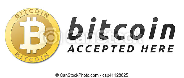 We accept bitcoins. Golden bitcoin virtual currency. - csp41128825