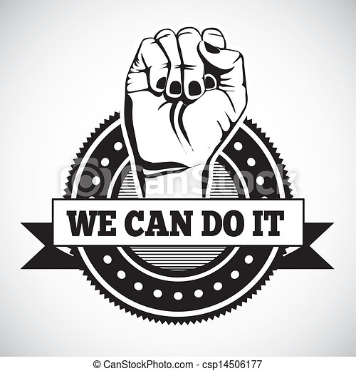 we can do it seal over white background vector illustration