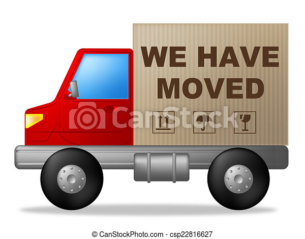 Clip Art of We Have Moved Means Change Of Residence And Lorry We – Free Change Address