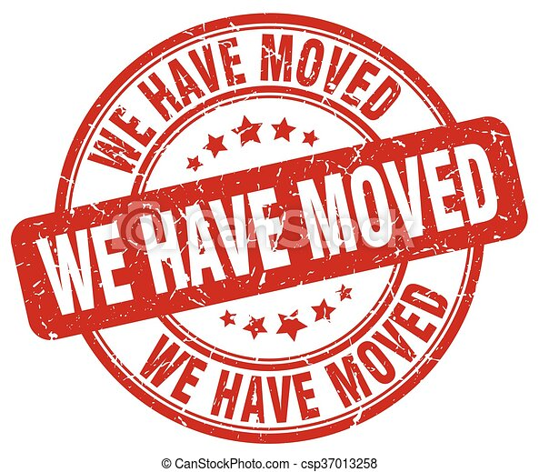 we have moved red round stamp - csp37013258