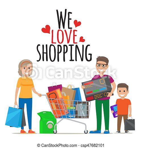 we love shopping family shopping illustration we love vector rh canstockphoto com shopping victoria bc shopping victoria british columbia