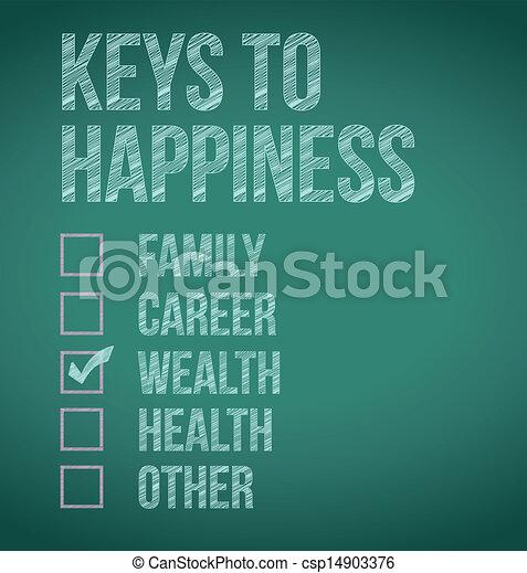 wealth., clés, conception, bonheur, illustration - csp14903376