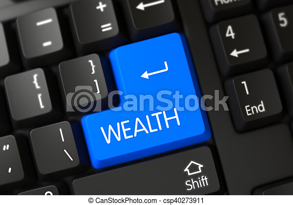 Wealth Close Up of Blue Keyboard Keypad. 3D. - csp40273911