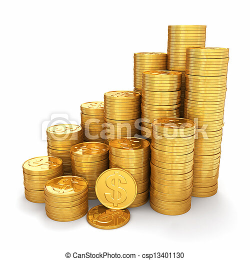 wealth., piramide, monete oro, fondo., bianco, 3d - csp13401130
