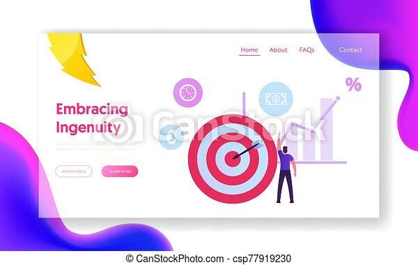 Wealth, Roi, Return on Investment and Money Refund Website Landing Page. Businessman Stand at Huge Target with Arrow in Center Pointing on Dollar Icon Web Page Banner. Cartoon Flat Vector Illustration - csp77919230