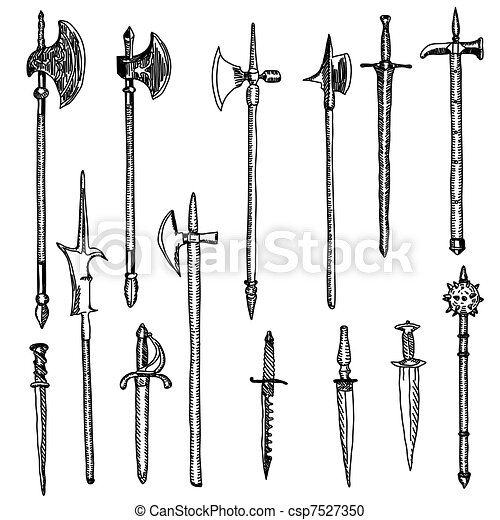 Weapon collection, medieval weapons - csp7527350