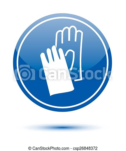 Wear Safety Gloves Sign On White
