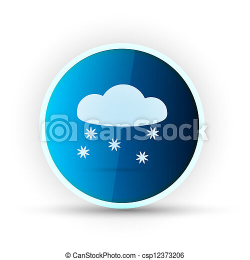 weather blue glossy icon on white background - csp12373206