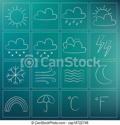 Weather chalky icons - csp18722748
