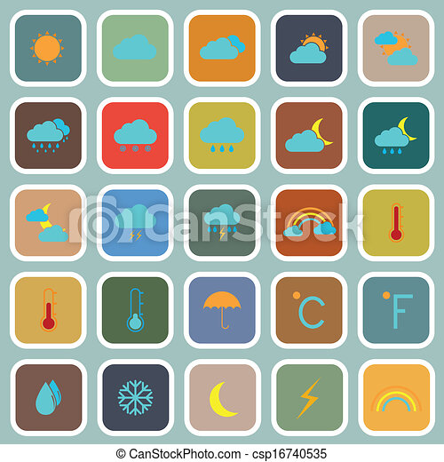 Weather flat color icons on blue background - csp16740535