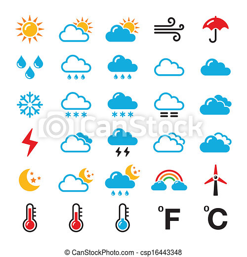 Weather forecast colorful icons weather conditions seasons and weather forecast colorful icons csp16443348 stopboris Image collections