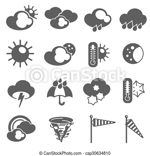 Weather Forecast Symbols Icons Set Black Weather Forecast Vector