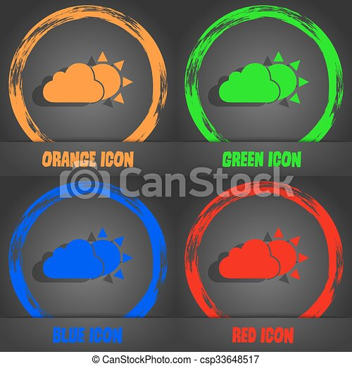 weather icon. Fashionable modern style. In the orange, green, blue, red design. Vector - csp33648517