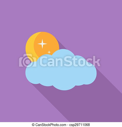 Weather icon. Moon, stars and clouds. - csp29711068