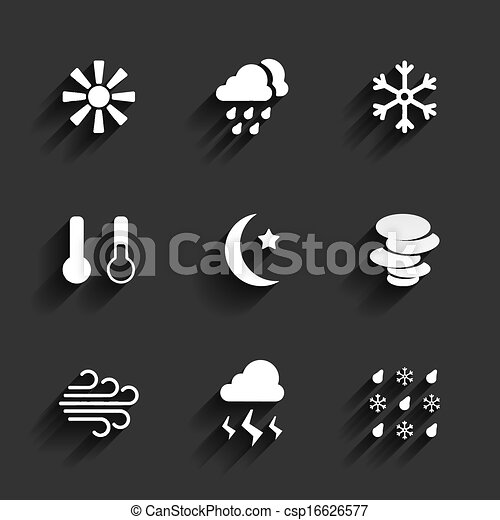 Weather icons in Flat Design Style - csp16626577