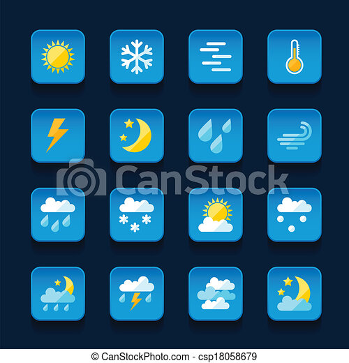 Weather icons set in flat design style. - csp18058679