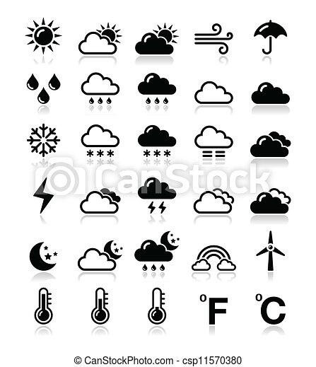 Weather icons set - vector - csp11570380