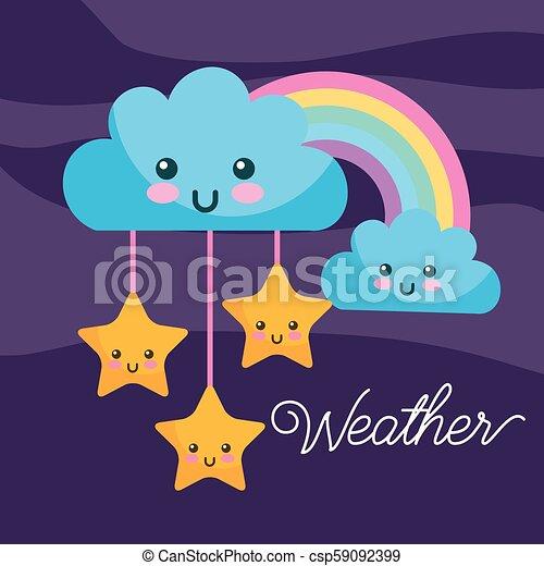 weather kawaii cartoon rainbow clouds stars - csp59092399