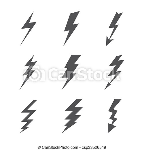 weather lightning silhouettes on white background template for