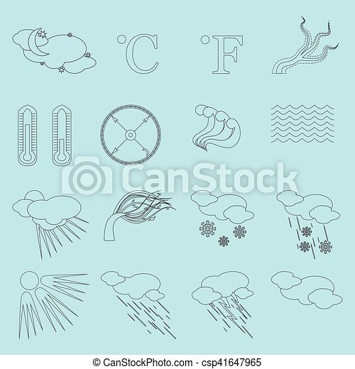 Weather Line Icons - csp41647965