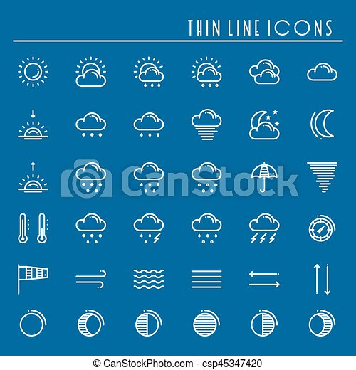Weather Pack Line Icons Set Meteorology Weather Forecast Trendy