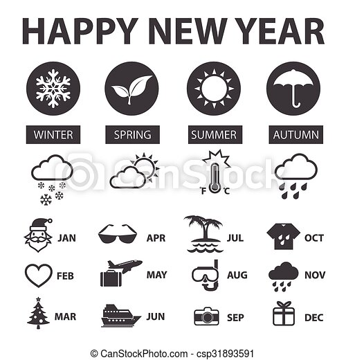 Weather season and New year icons - csp31893591