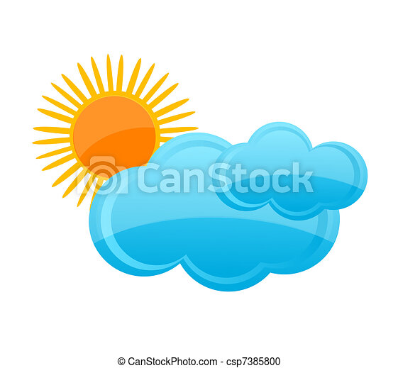 Weather Symbol Cloud And Sun Blue And Yellow Color Vector Clipart