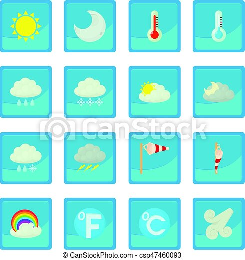Weather Symbols Icon Blue App For Any Design Vector Illustration