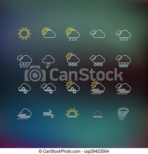 Weather Thin Line Icons - csp29423564