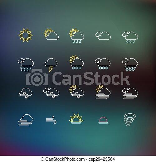 Weather Thin Line Icons - csp29423564