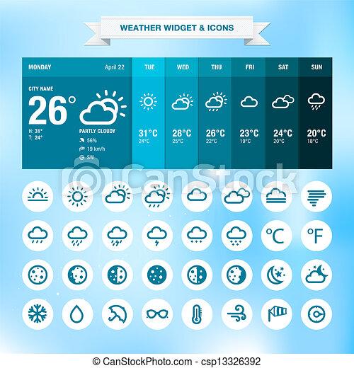 Weather widget and icons - csp13326392