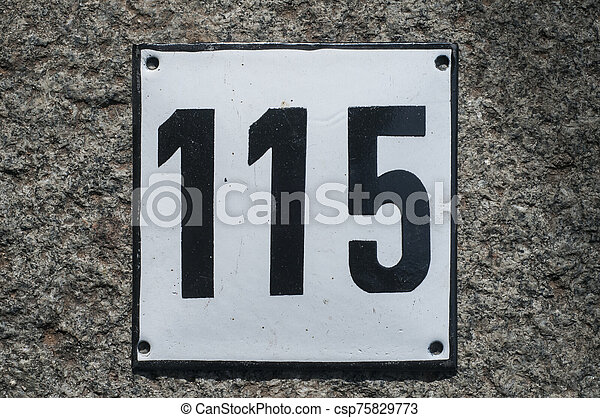 Weathered enameled plate number 115 - csp75829773