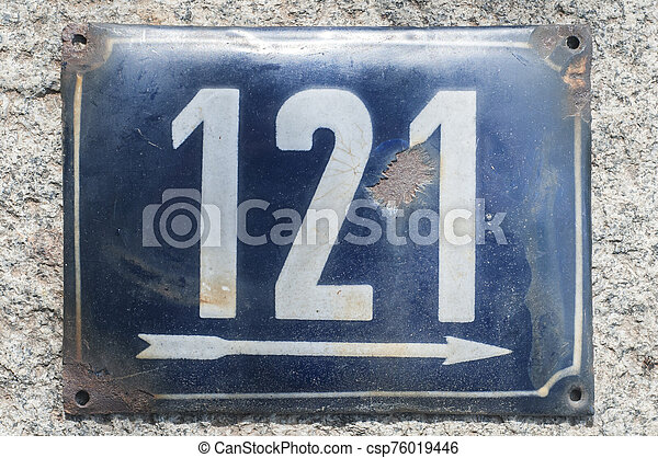 Weathered enameled plate number 121 - csp76019446