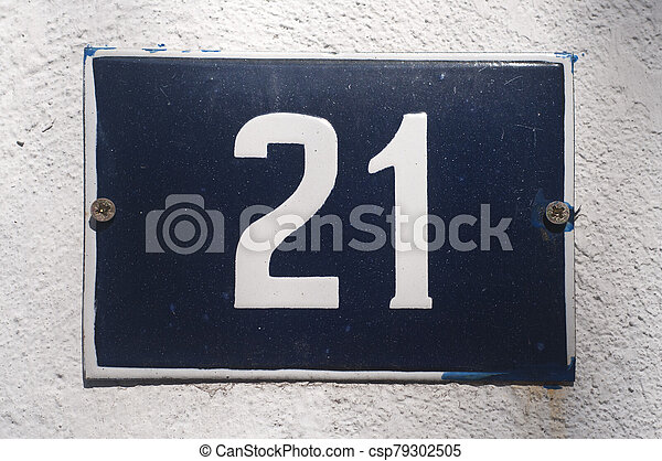 Weathered enameled plate number 21 - csp79302505