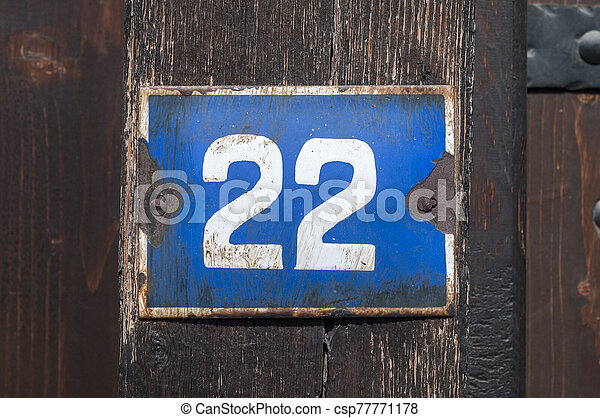 Weathered enameled plate number 22 - csp77771178