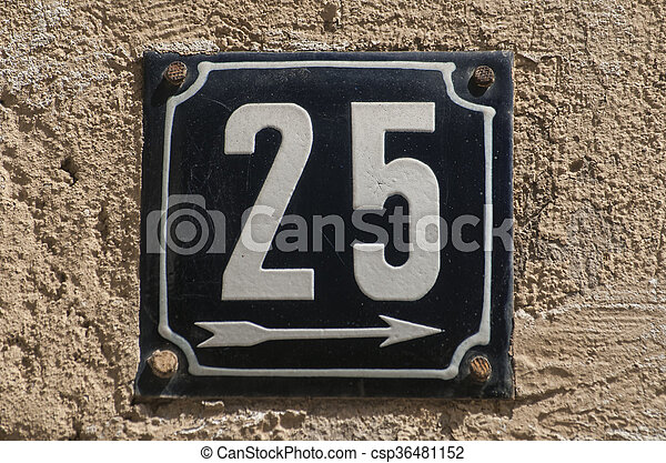Weathered enameled plate number 25 - csp36481152